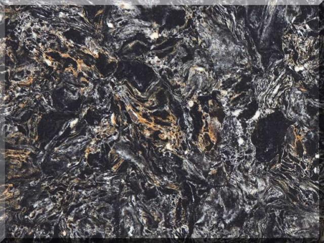 Цветовая палитра кварцевый камень Vicostone Cosmic Black BQ9427